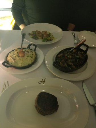 Scallops , Steak and the side