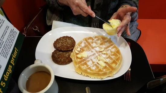 Chick and Ruth's Delly: A tasty waffle with sausage patties