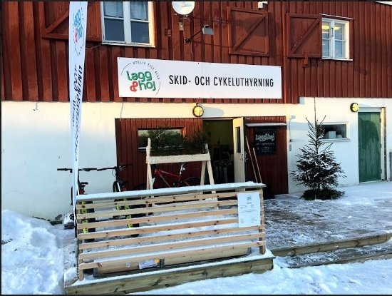 Froson, Sweden: Outside SkiShop in Winter
