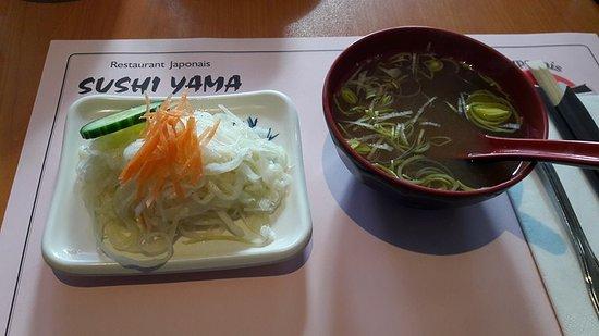 Yama Sushi: Salade et soupe miso