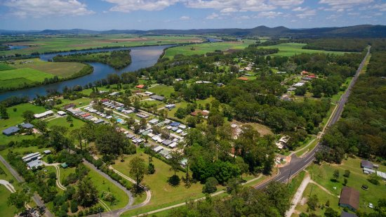 Woombah, Australia: Drone shot of Bimbimbi on the north arm of the Clarence River