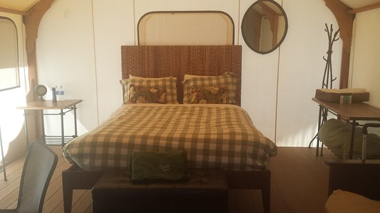 Lakedale Resort At Three Lakes Inside The Glamping Cabin Queen Bed Futon Table