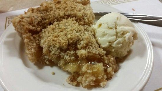 Ashland, OH: Homemade Dutch apple pie with vanilla bean ice cream.