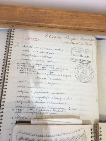 Puerto Rawson, الأرجنتين: Cuaderno-diccionario pampa-mapuche al castellano. Autor: Padre Manuel Molina