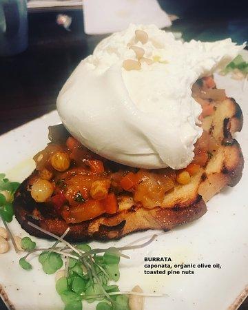 King City, Canada: BURRATA caponata / organic olive oil / toasted pine nuts