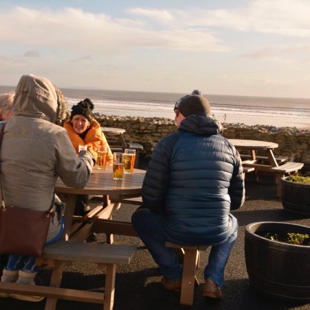 Even on cooler days you get a warm welcome at the Amroth Arms.