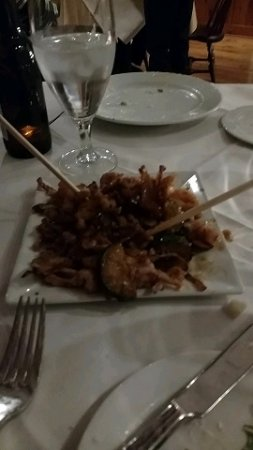 Sergeantsville, NJ: Our calamari appetizer. It looked much more presentable before I dug right in to it.