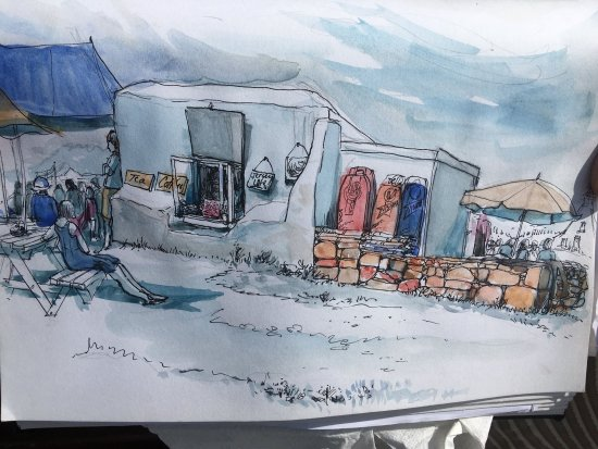 St. Ouen, UK: Thank you to one of our visitors for this fantastic watercolour of our little white hut.