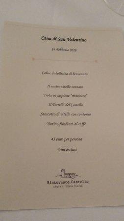 Santa Vittoria d'Alba, Ιταλία: menù