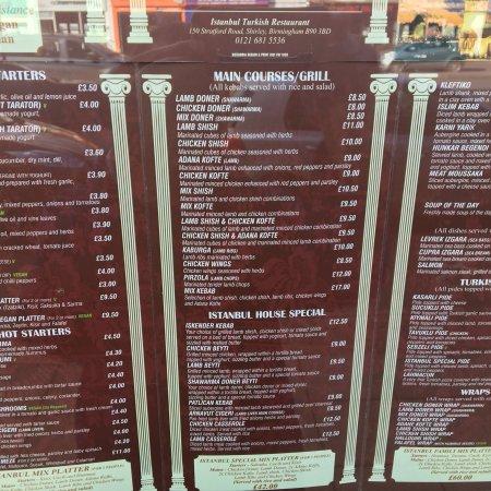 Istanbul Restaurant Solihull Menu