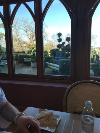 Heathfield, UK: sitting inside the cafe looking out towards the plants in the garden centre