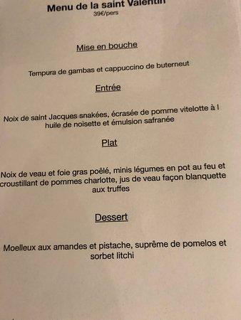 Gargas, Prancis: menu st valentin