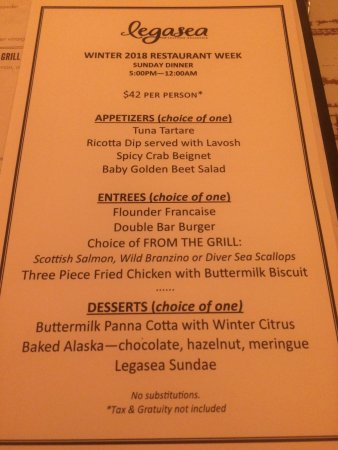 Restaurant week menu picture of legasea seafood for 010 cuisine weekmenu