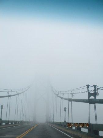 Bristol, Род Айленд: Mt Hope Bridge in fog (15 Feb 18)