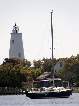The Ocracoke lighthouse stands out from any vantage point around the harbor.