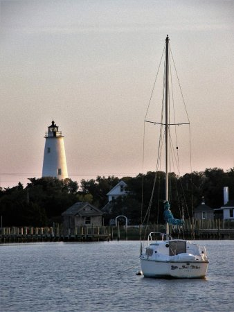 Ocracoke Lighthouse: A setting sun over the Ocracoke harbor makes for a nice picture.