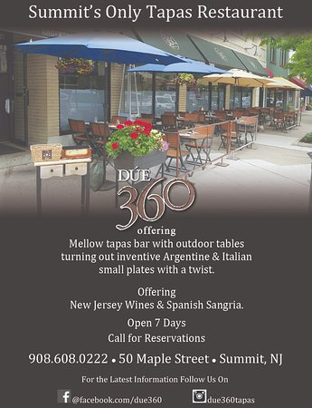 Summit, NJ: Tapas with outdoor tables and more.