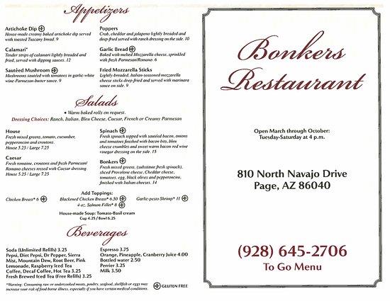 Bonkers Restaurant: Menu