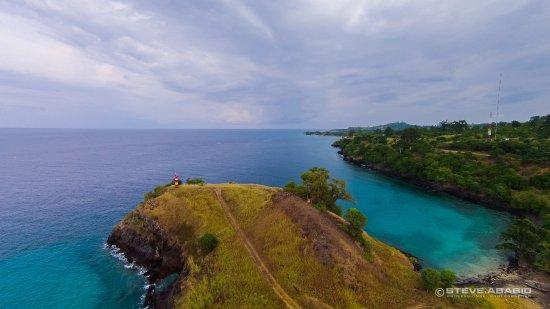 Ilha de São Tomé, São Tomé e Príncipe: Lagoa Azul and thelighthouse from above; Sao Tome and Principe