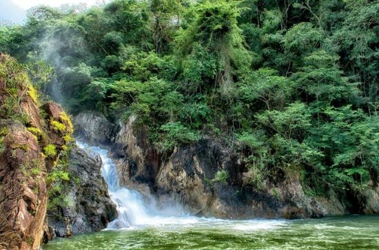 Jungle Pontoon Boat and Waterfall...
