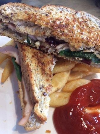 Otorohanga, Neuseeland: Smoked Chicken Salad with Fries (Excuse the Sauce!)