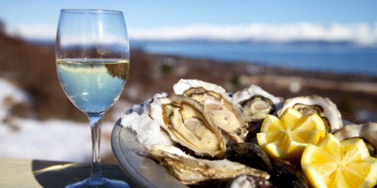 Oysters and Wine pairings on our Cape Winelands Tour, Cape Town, South Africa.