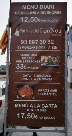 Canyelles, Ισπανία: Anuncio de especialidades