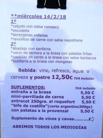 Canyelles, Ισπανία: Menú del día