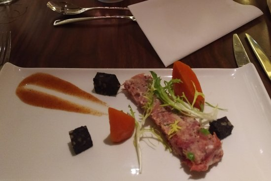 Little Horwood, UK: Pea, ham and mint terrine for starters was excellent...