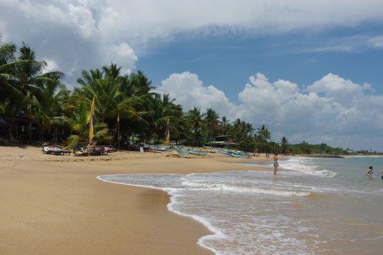 Hotel Frangipani Beach Villas: Vlajky zhruba vymezují prostor hotelové pláže