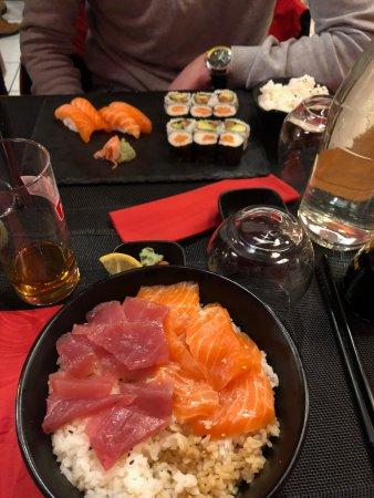 Tartare de saumon et thon marinés // plateau de sushis