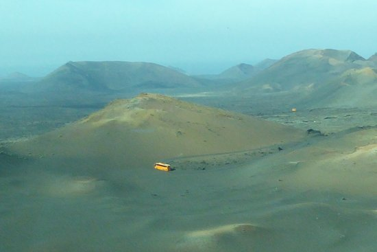 Timanfaya National Park: bus in the distance