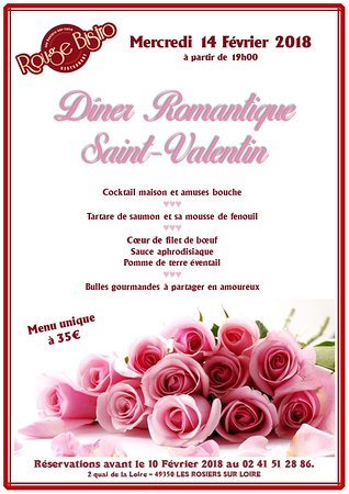 Les Rosiers sur Loire, Frankreich: Diner romantique Saint-Valentin