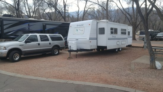 Garden of the Gods RV Resort: My Travel Trailer and SUV with Pike's Peak in the background