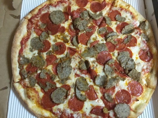 "Crofton, MD: 16"" pizza with meatball and pepperoni"
