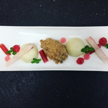 Farnham Common, UK: Textures of Rhubarb, Custard Panacotta, Gingerbread Ice Cream, Crystallised Basil