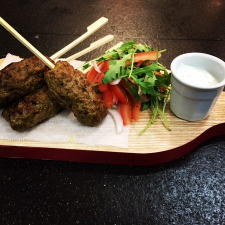 Farnham Common, UK: Bar Menu Tapas - Lamb Koftas, Cucumber & Mint Yoghurt