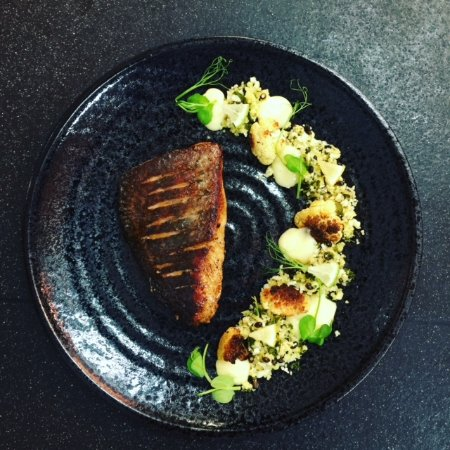 Farnham Common, UK: Wild Sea Bass, Lemongrass Cauliflower Cous Cous, Lime Curd, Lemon Roasted Cauliflower