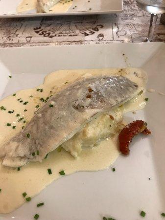 Goult, France: Sea bass on parsnip purée