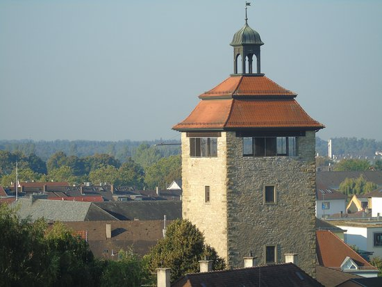 Great viewpoint over the city of Bruchsal - seen here the 'Bergfried'