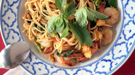 The Residence Garden Apartments & Suites: Spicy Thai style seafood spaghetti from Captain's Corner