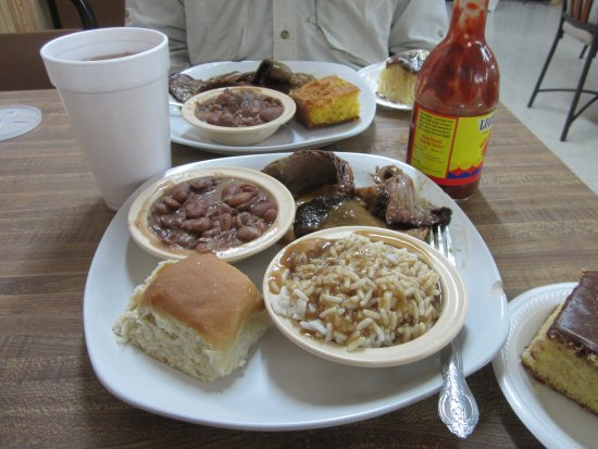 Brookhaven, MS: Brisket BBQ with beans and rice