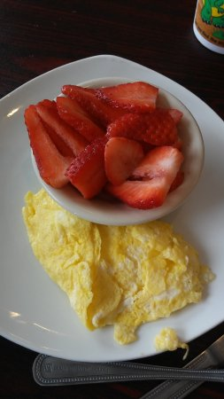 """Sachse, TX: 1 egg and fresh strawberries (ordered from """"sides"""" section) for my toddler"""