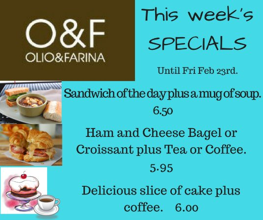 Olio and Farina: special offers every day