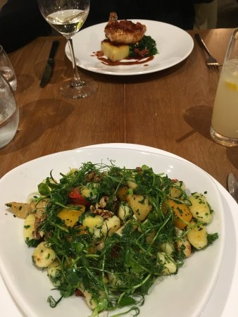 Glasbury-on-Wye, UK : Root veg gnocchi with smoked cheese and walnuts - main dish