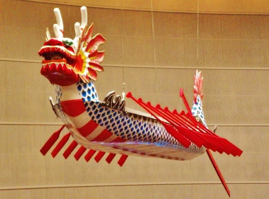 Oregon Convention Center: A dragon boat hanging from the ceiling