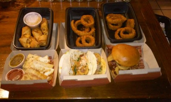 Sanford, ME: Whiskey Bacon Burger, BBQ Brisket Tacos, Onion Rings, Appetizers