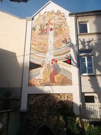 Father Marko Ivan Rupnik's mosaic at Nanterre's Sainte-Genevieve's Cathedral.