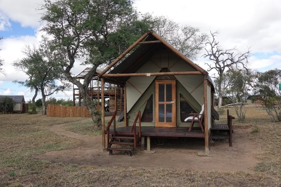Manyeleti Game Reserve, África do Sul: View of tent and the main building / Hide