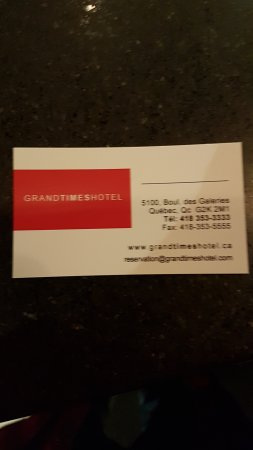 Grand Times Hotel: Carte d'affaire pour faire ma plainte